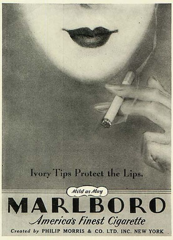 1935 Marlboro Advertisement for women smokers. Taken from Stanford Research into the Impact of Tobacco Advertising archive (http://tobacco.stanford.edu/tobacco_main/images.php?token2=fm_st042.php&token1=fm_img1055.php&theme_file=fm_mt013.php&theme_name=Women%27s%20Cigarettes&subtheme_name=Marlboro)